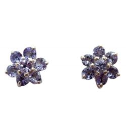 Ear Studs Tanzanite Natural Stone
